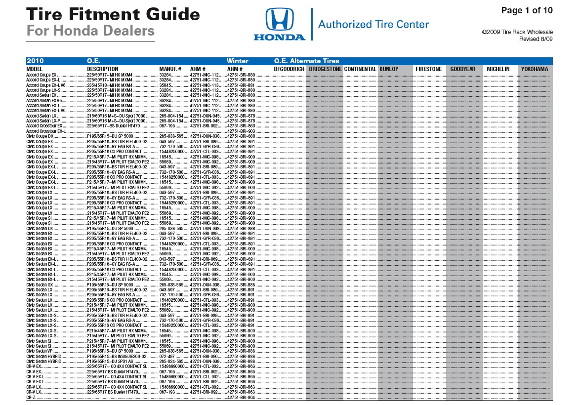 Tire Considerations For Honda And Acura Vehicles Accord Electrical Troubleshootin G Manual Wiring Diagram Oem