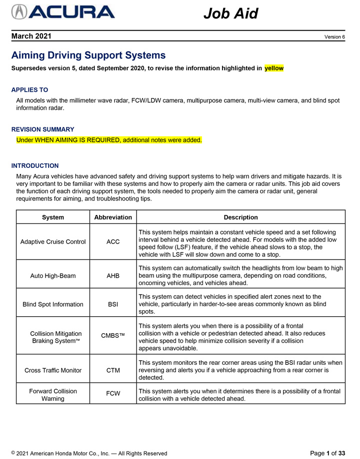 Acura Aiming Driving Support Systems Job Aid
