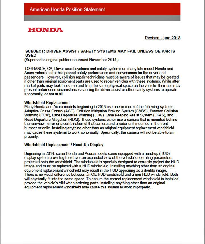 Honda Position Statements