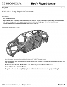 Honda Has Released The 2016 Honda Pilot Body Repair News Bulletin