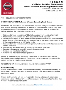 Nissan Position Statement - Power Window Servicing Post-Repair