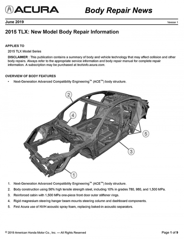 Acura Has Released Three New Body Repair News Bulletins