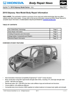 Honda Has Released The 2018 Honda Odyssey Body Repair News Bulletin