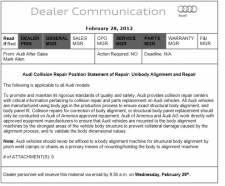 Audi Position Statement: Unibody Alignment and Repair