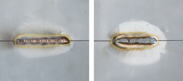 The example on the left shows the heat-affect zone of a MIG brazed joint compared to the larger heat-affect zone on the GMA (MIG) weld on the right.