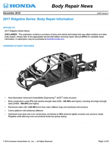 Honda Has Released The 2017 Honda Ridgeline Body Repair News Bulletin