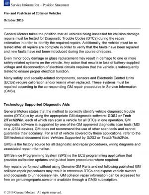 General Motors Position Statement: Pre- and Post-Repair
