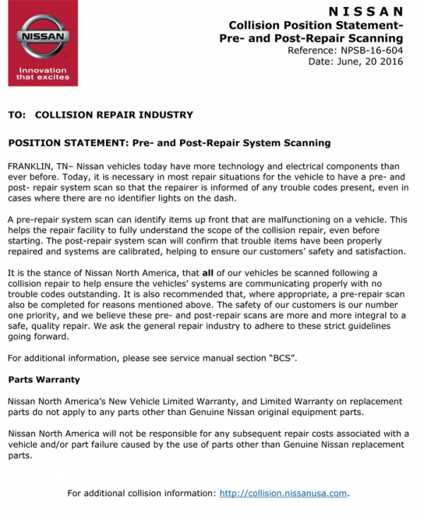Nissan/INFINITI Position Statement: Pre- and Post-Repair Scanning