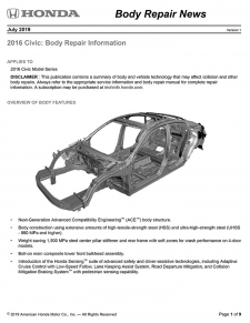 2016 Honda Civic Built With 1,500 MPa Steel Rear Rails - Complete Part Replacement Required