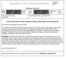 Audi Position Statement: Wheel Repair and Reconditioning