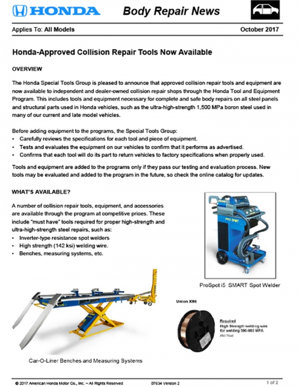 Honda And Acura Release New Body Repair News: Approved Collision Repair Tools