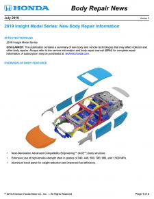 Honda Has Released The 2019 Honda Insight Body Repair News Bulletin