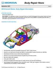 Honda Has Released The 2018 Honda Accord Body Repair News Bulletin