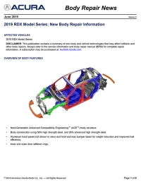 Acura Has Released The 2019 RDX Body Repair News Bulletin