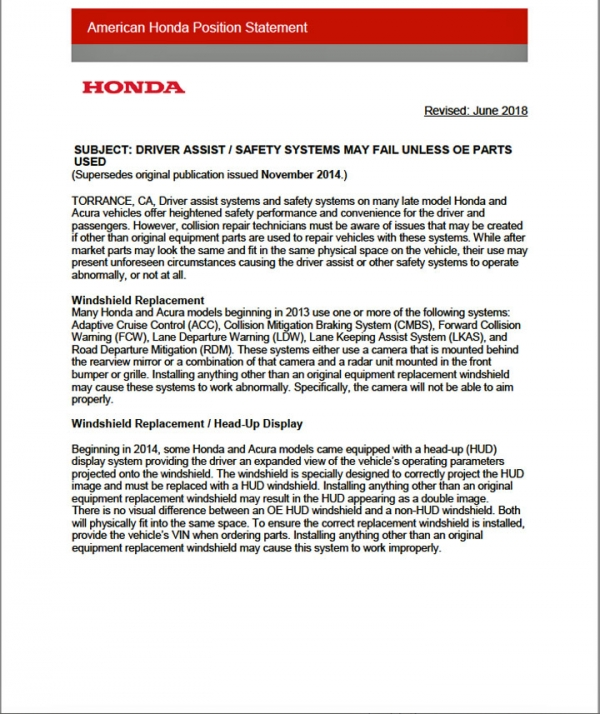 Honda/Acura Releases New Parts Information: UPDATE
