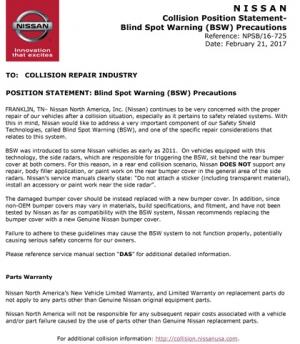 Nissan Position Statement - Blind Spot Warning (BSW) Precautions