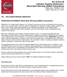 Nissan Position Statement - Blind Spot Warning (BSW) Precautions