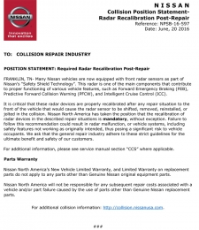 Nissan Position Statement - Required Radar Recalibration Post-Repair