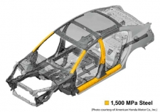 Figure 1 - Shown is the locations where 1,500 MPa parts are found on the 2013 Accord sedan structure. (Photo courtesy of American Honda Motor Co, Inc.)