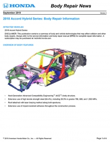 Honda Has Released The 2018 Honda Accord Hybrid Body Repair News Bulletin